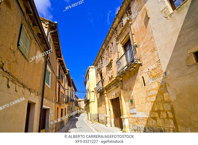 Street Scene, Tipycal Architecture, Old Town, Berlanga de Duero, Soria, Castilla y León, Spain, Europe