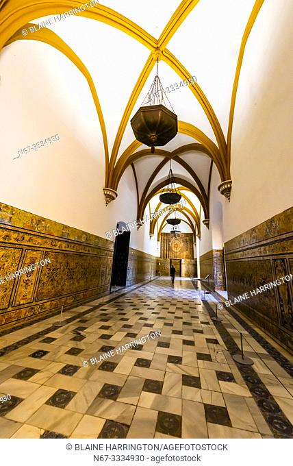 Hall of Charles V, The Alcázar of Seville (Real Alcazar) is a royal palace in Seville, Spain, built for the Christian king Peter of Castile
