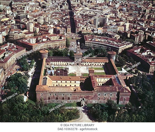 Aerial view of Sforza Castle at Milan - Lombardy Region, Italy