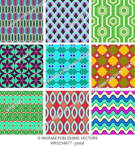 Set of geometric seamless pattern. Colorful abstract backgrounds. Texture for fabric
