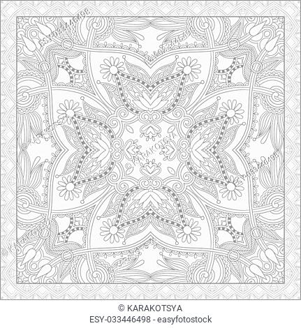 unique coloring book square page for adults - floral authentic carpet design, joy to older children and adult colorists, who like line art and creation