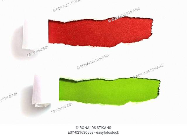 Ripped paper with red and green background