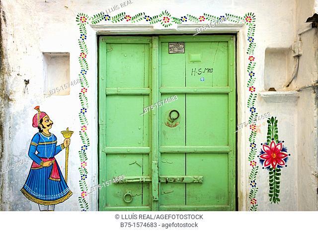 Door, Udaipur, Rajasthan, India, Asia