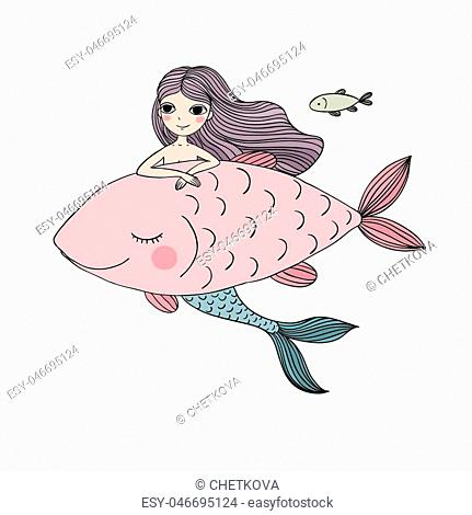 Beautiful little mermaid and fish. Siren. Sea theme.Hand drawn vector illustration on a white background