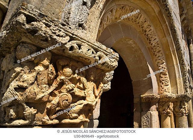 Capitals and columns carved with bas of the romanesque church porticoed of San Juan y Santa Basílica; in Rebolledo de la Torre, in northern Burgos