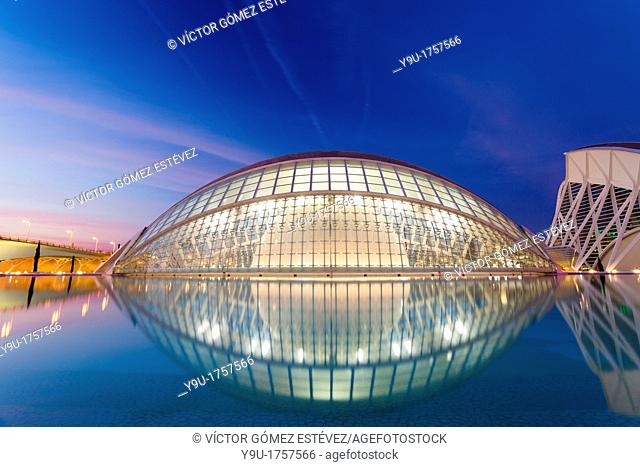 Hemisferic in City of Arts and Sciences in Valencia in the evening