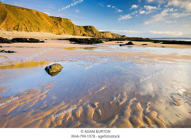 Sand, pools and cliffs at Sandymouth Bay in North Cornwall, England, United Kingdom, Europe
