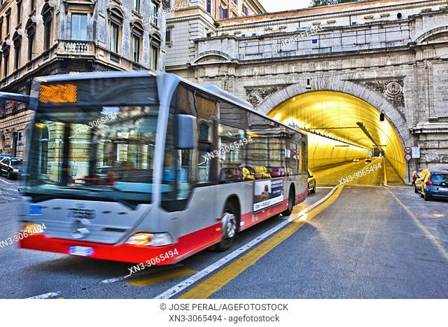 Urban transport of roma, bus crossing the Umberto I Tunnel, Rome, Lazio, Italy, Europe