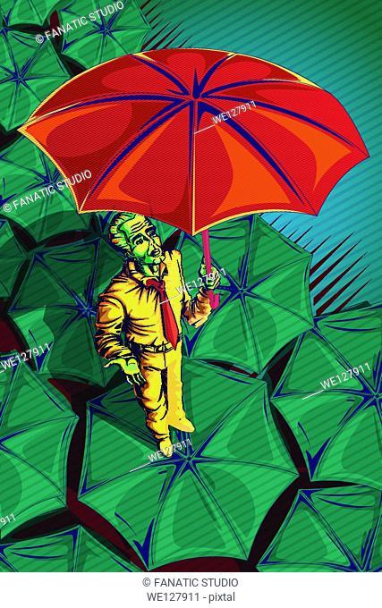 Illustrative image of businessman holding umbrella representing insurance