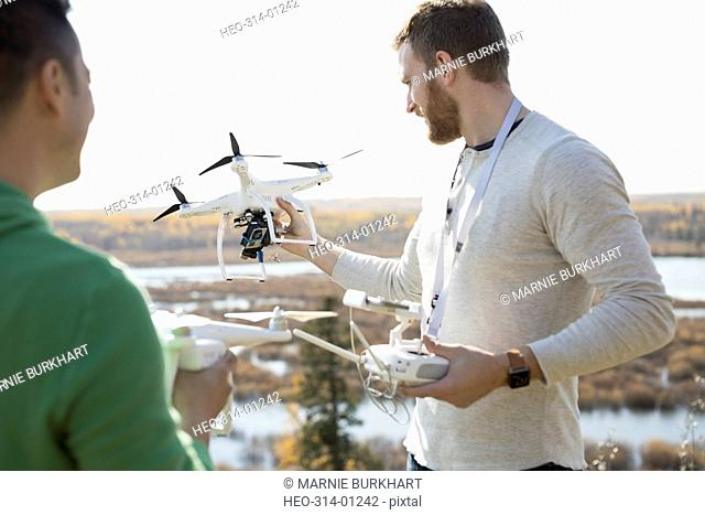 Male friends with drone equipment