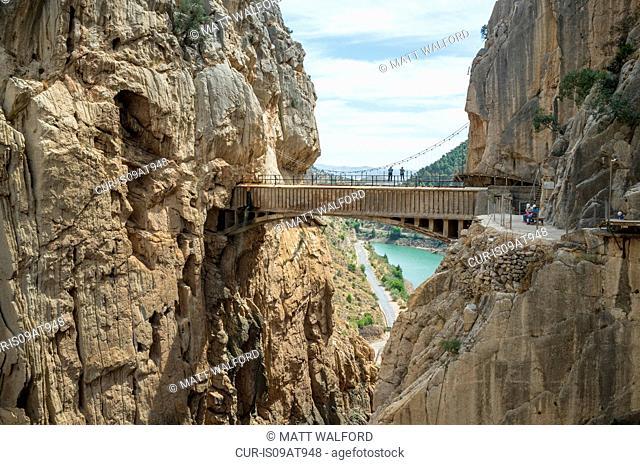 Elevated view of Caminito Del Ray bridge, El Chorro, Malaga, Spain