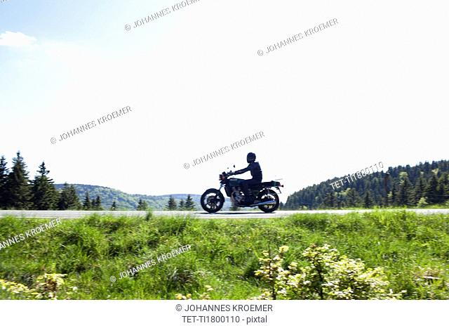 Motorbike on country road