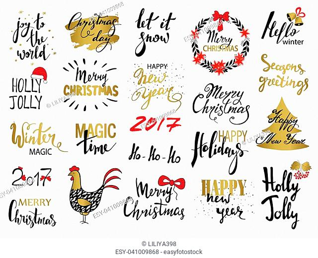 Set of Merry Christmas text, hand drawn lettering and Happy New Year typography design. For cards, invitations, posters, flyers, logos, emblems