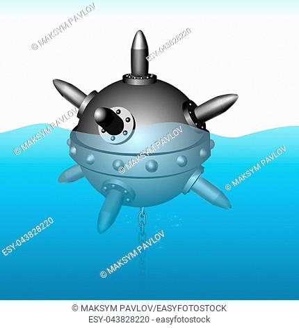 Naval mine vector illustration on sea background