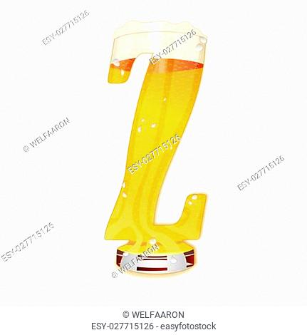 Very detailed illustration of a Beer Alphabet capital or uppercase font on white background showing a filled crystal glass with the letter Z shape and some foam