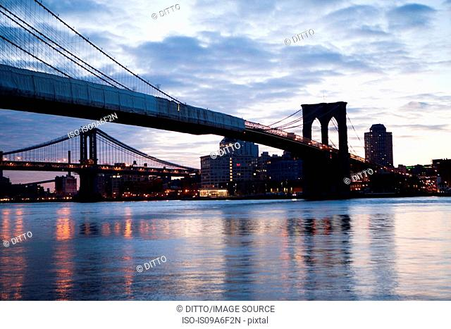 Brooklyn bridge and Manhattan bridge, New York City, USA