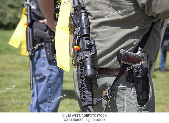 Arlington, Virgina - Pro-gun activists rally across the Potomac River from Washington, DC, the closest they could get to the nation's capitol while legally and...