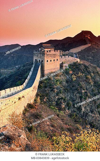 China, Jinshanling, Chinese wall, detail, evening-mood, series, Asia, close to Peking, mountains, highland-shaft big wall Great embankment Ming-Dynastie 14-17...