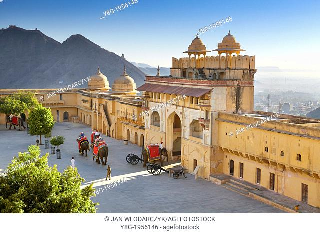 Amber Fort - elephants on the Jaleb Chowk courtyard and main gate of Amber Fort, Jaipur, Rajasthan, India