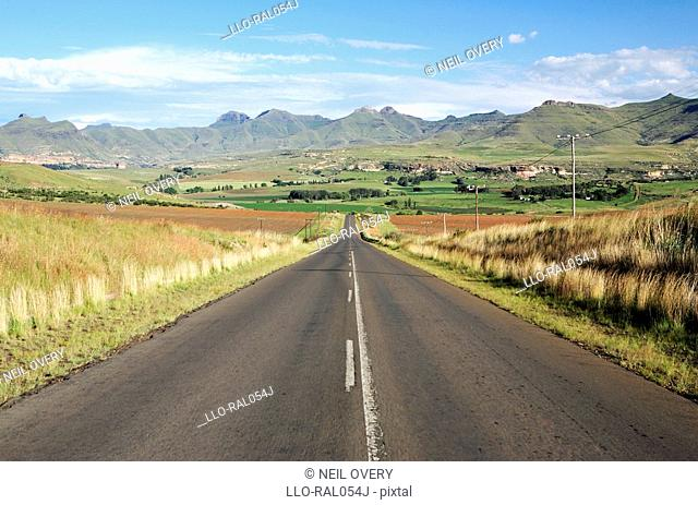 View of road going to Maluti Mountains and Golden Gate National Park, Free State Province, South Africa