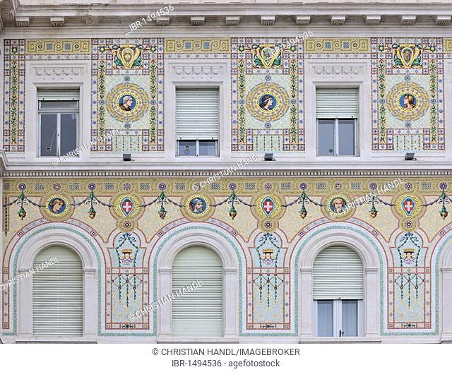 Art Nouveau facade at Piazza dell'Unità d'Italia, Trieste, Italy, Europe