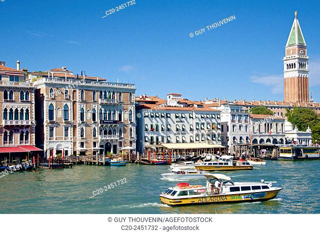 Canal Grande at San Marco, with boats and Campanile in the background, Venice, Venetia, Italy