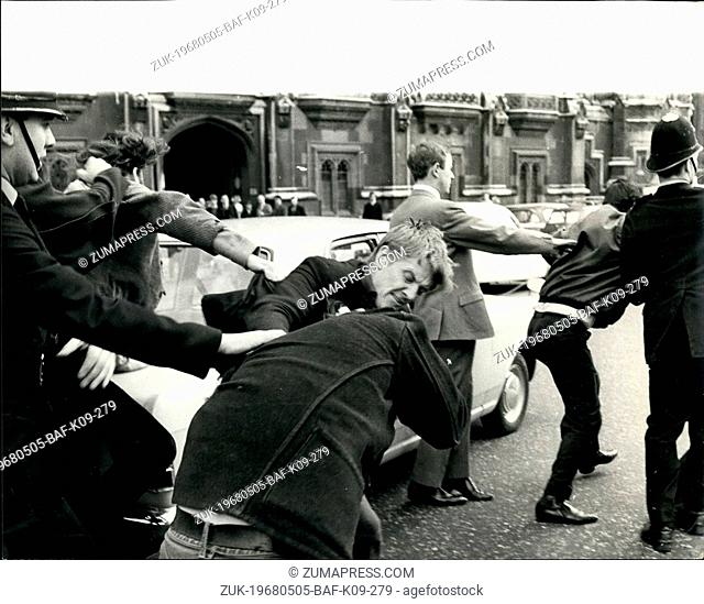 May 05, 1968 - Dockers Clash with Demonstrators. Photo Shows Police trying to hold back dockers - who being provoked by anti - racial demonstrators