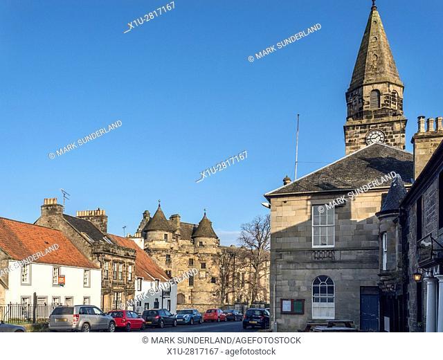 Falkland High Street and Palace Fife Scotland