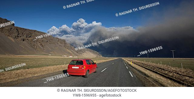 Car on the road with ash cloud from Eyjafjallajokull Volcanic Eruption, Iceland
