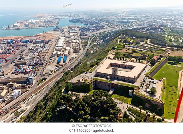 Castle of Montjuic and Port of Barcelona, Spain