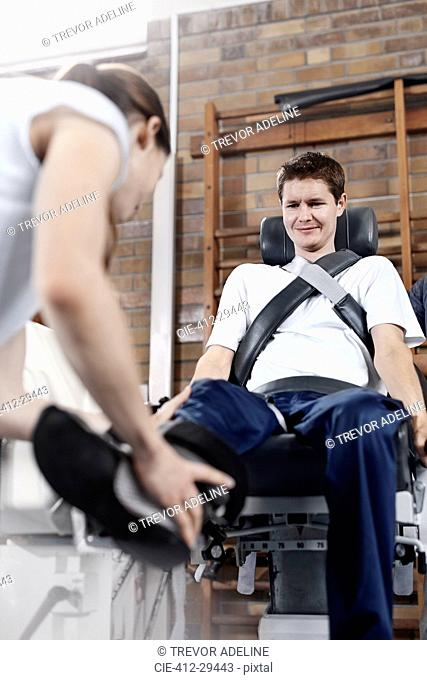 Man receiving physical therapy