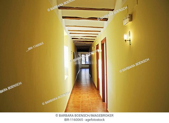 Corridor, hall, Convento Nuestra Senora del Carmen, monastery, hostel, hotel, Carmelitas Descazos, Carmelites, Caravaca de la Cruz, sacred city, Murcia, Spain