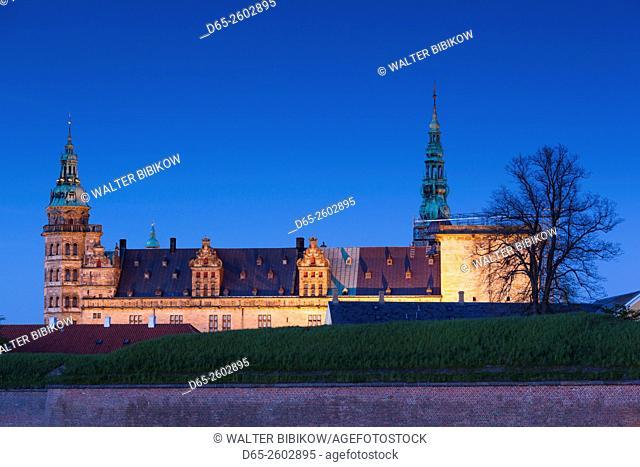Denmark, Zealand, Helsingor, Kronborg Castle, also known as Elsinore Castle, from Shakespeare's Hamlet, eveing