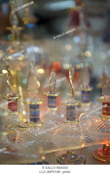 Glass perfume bottles in souk  United Arab Emirates