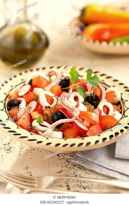 Squid,onion ,radish and tomato salad