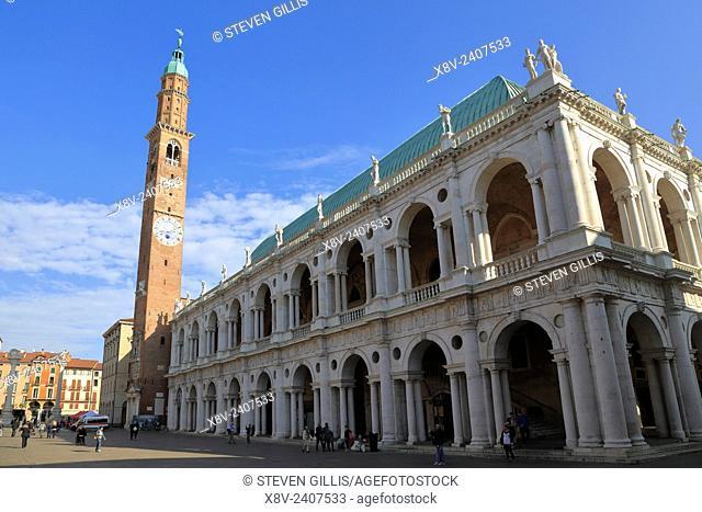 Torre di Piazza and Basilica in Piazza dei Signori, Vicenza, Italy, Veneto