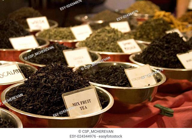 Different tea flavors found in flea market, India