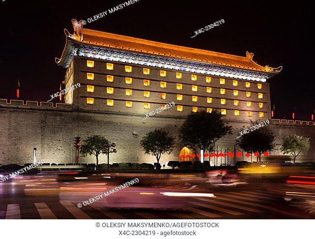 Xi'an city wall North gate tower at night, Shaanxi, China 2014