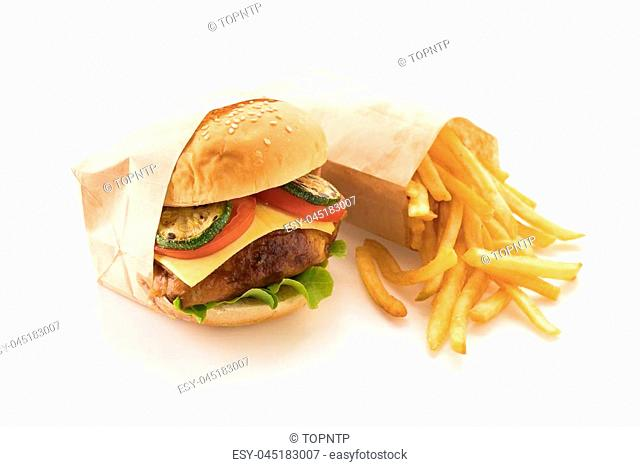 grill chicken burger with french fries on white background