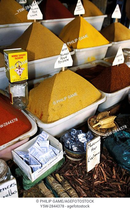 Herbs and spices for sale in Essaouira, Morocco