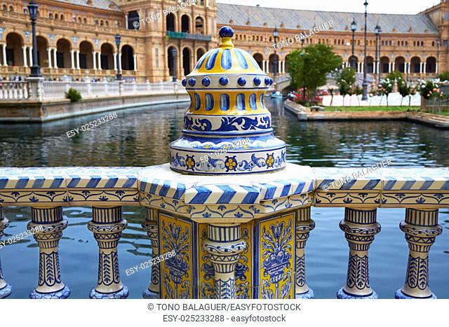 Seville Sevilla Plaza de Espana ceramic balustrade Andalusia Spain square