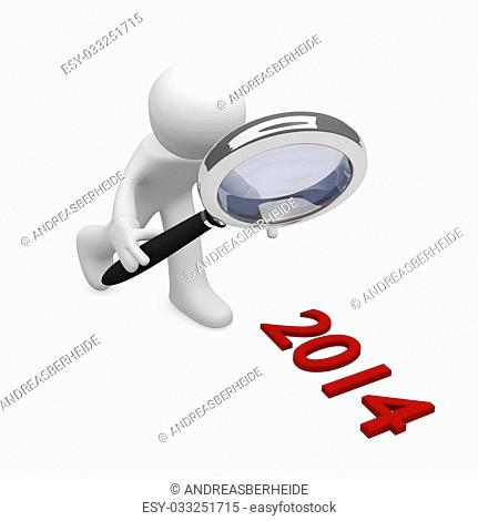 3d man with a magnifying glass searching 2014