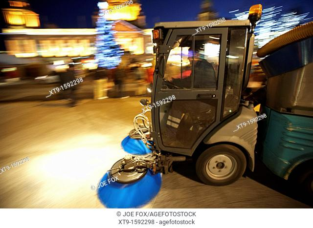 belfast city council street sweeper cleaning streets at night northern ireland uk deliberate panning motion blur