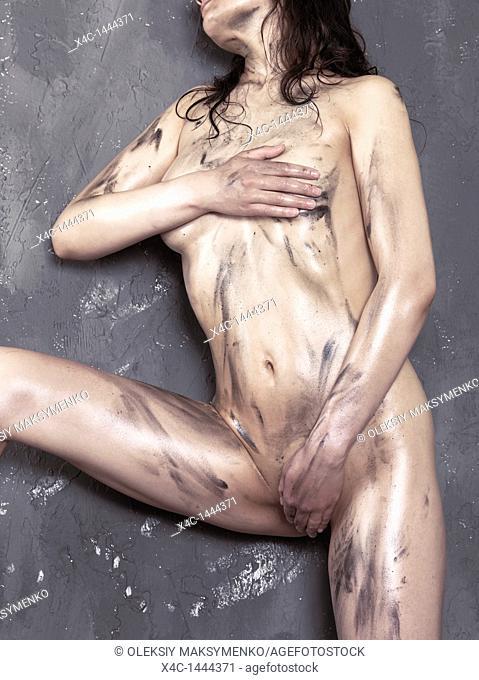 Beautiful shiny soiled naked woman body