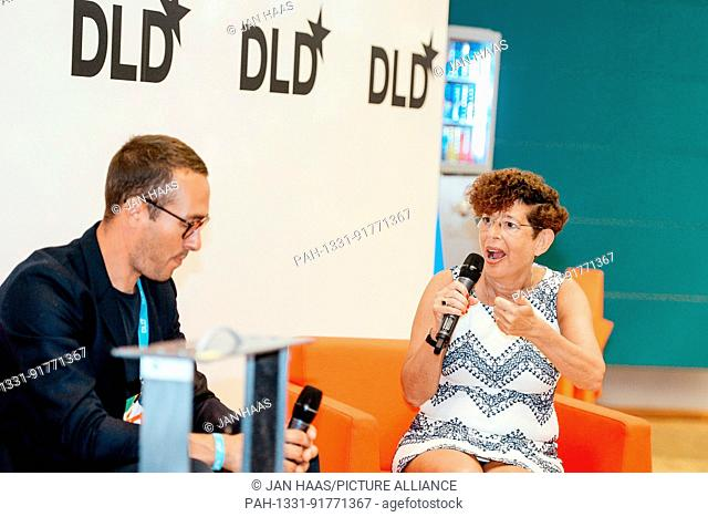 BAYREUTH/GERMANY - JUNE 21: (l-r) Sam Handy (adidas) talks with Jennifer Schenker (Les Echos/The Innovator) in a panel discussion during the DLD Campus event at...