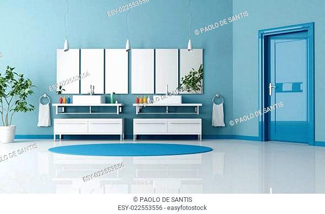 blue contemporary bathroom