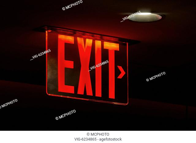 An image of a red lit exit sign - 26/05/2018