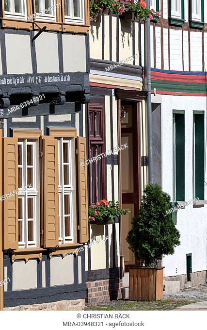 Half-timbered houses in the Old Town of Wernigerode, Harz, Saxony-Anhalt, Central Germany, Germany