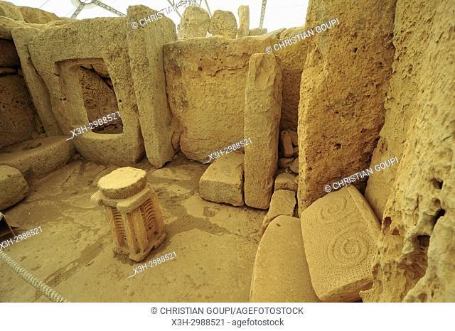 megalithic temple complex of Hagar Qim, Qrendi, Malta, Mediterranean Sea, Southern Europe