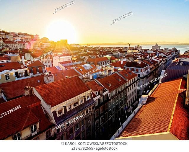Portugal, Lisbon, Miradouro de Santa Justa, View over downtown and Aurea Street towards the Tagus River at sunrise